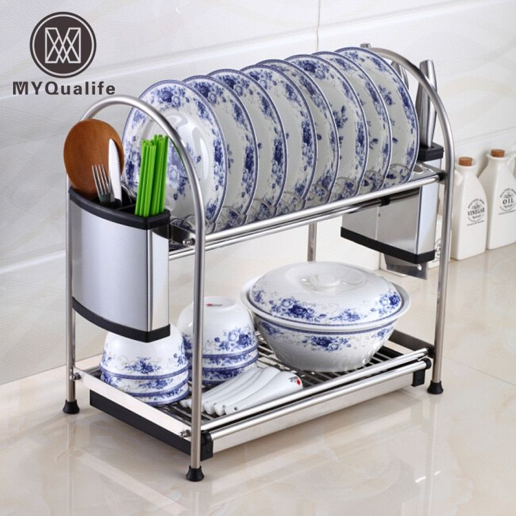 Multi-functions Double Layer Desktop Kitchen Storage Rack Kitchen Tools Holder Dish Rack Stainless Steel