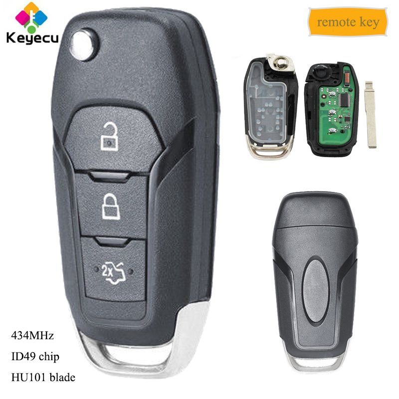 KEYECU Replacement Folding Remote Key - 3 Buttons 434MHz ID49 Chip HU101 Uncut Blade - FOB for Ford Escort Mondeo 2014 2015-2017