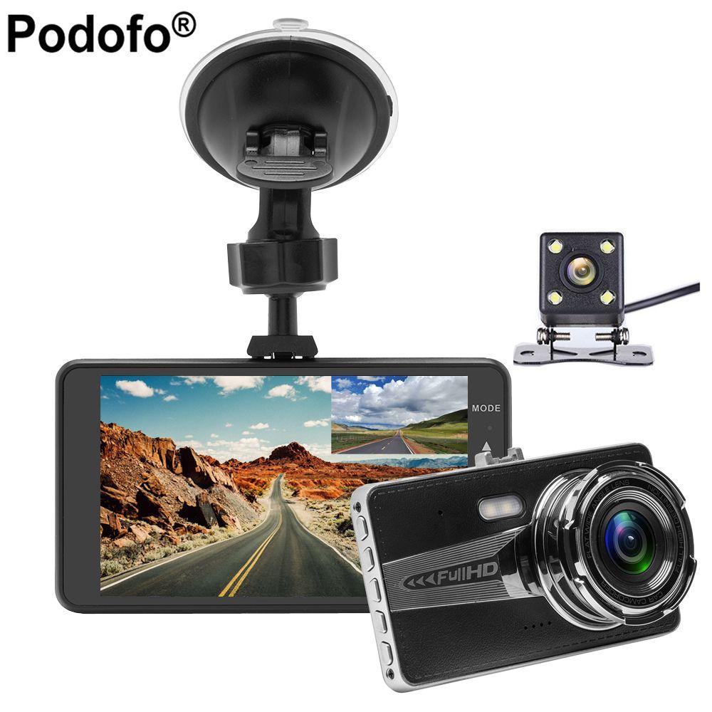 Podofo 4.0 inch IPS Dual Lens Car DVR Cam Dashcam 1080P Full HD Video Registrator Recorder Backup Rearview Camera Dash Cam Dvrs