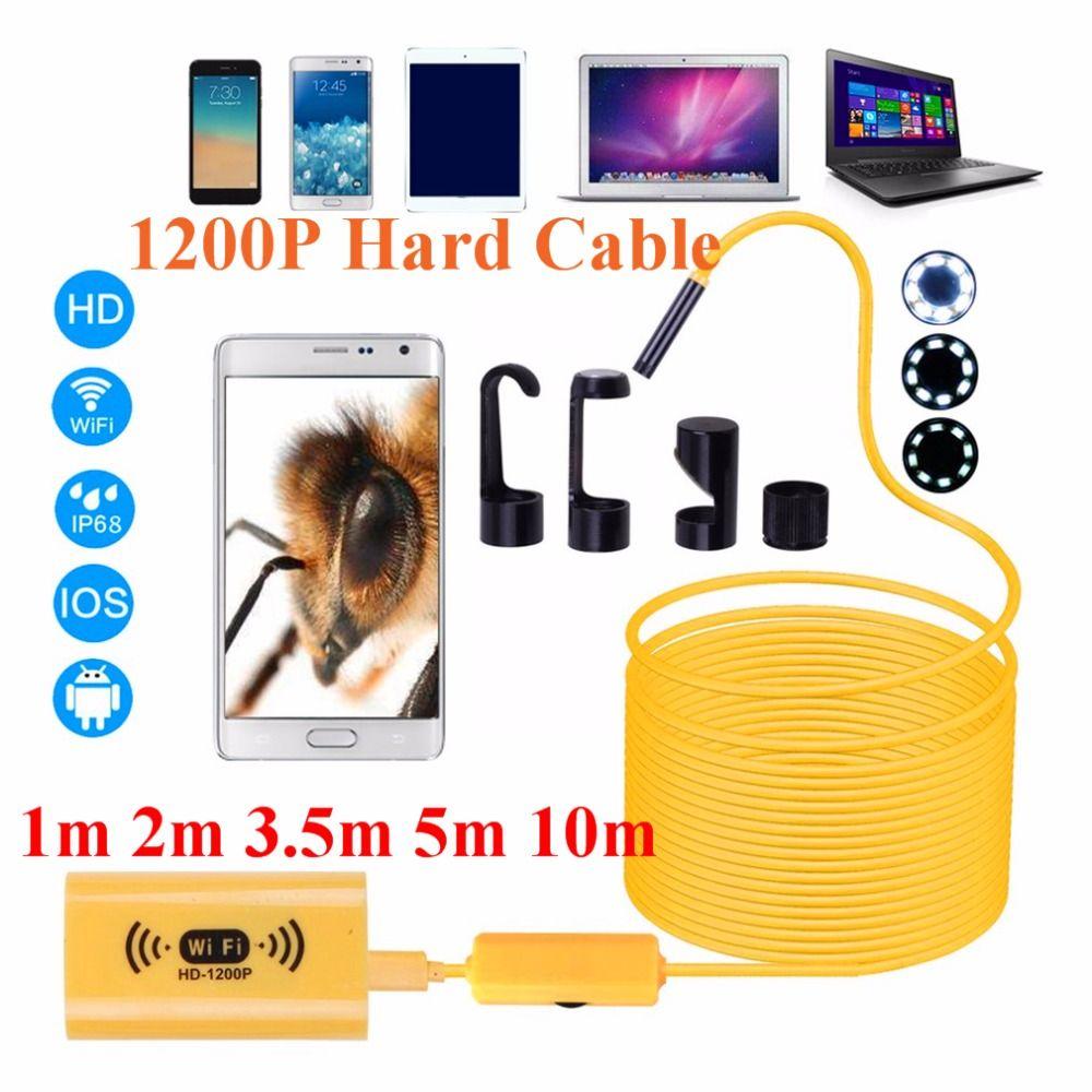 1200 p HD Einstellbare 8 LEDs WiFi Endoskop kamera 8,0mm IP68 Harte Kabel 1 mt 2 mt 3,5 mt 5 mt 10 mt für iOS für Android für Windows