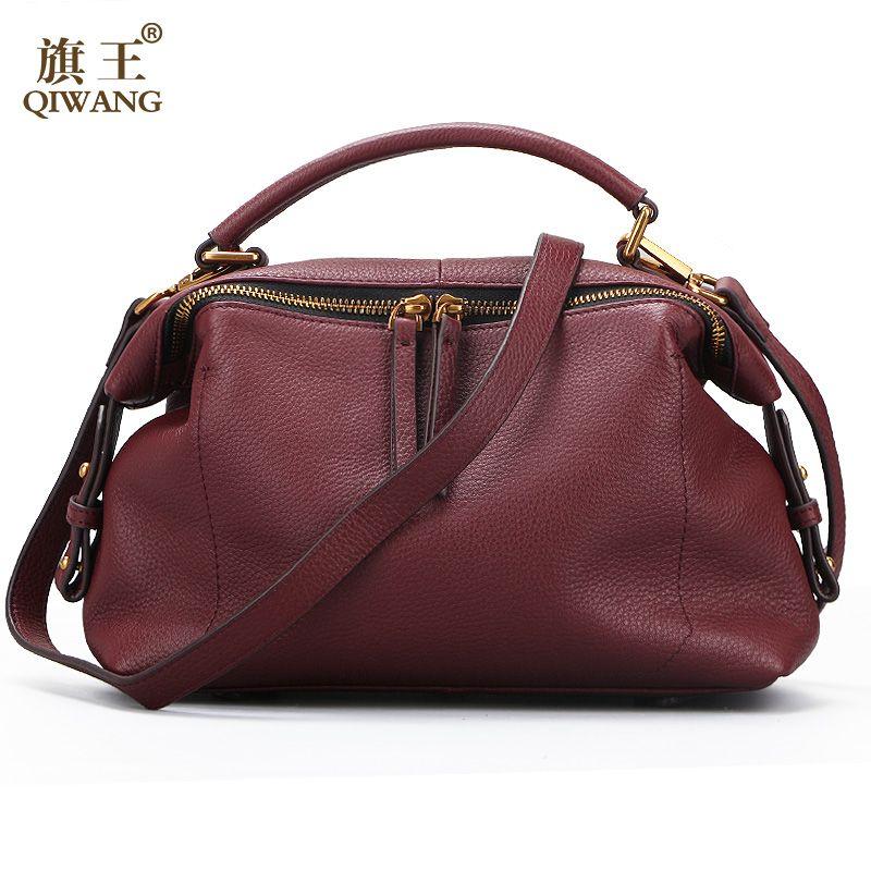Qiwang 2017 Casual Tote Women Shoulder Bags 100% Genuine Leather Women Bag Designer Brand Leather Handbags <font><b>Luxury</b></font> Crossbody Bags