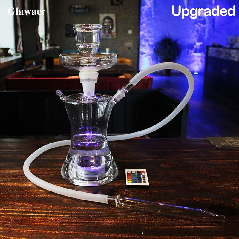 Glawaer Small Russian style Glass <font><b>Hookahs</b></font> Huge Vapor Shisha Chicha Vaporizer Narguiles Smoking Water Pipes With LED Light