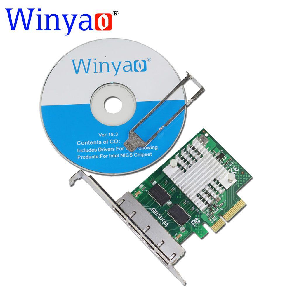Winyao WY1000T4 PCI-E X4 Quad Port 10/100/1000 Mbps Gigabit Ethernet Carte Réseau Serveur Adaptateur LAN I350-T4 NIC