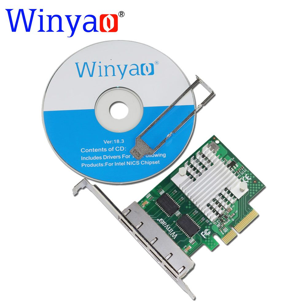 Winyao WY1000T4 PCI-E X4 Quad Port 10/100/1000Mbps Gigabit Ethernet Network Card Server Adapter LAN I350-T4 NIC