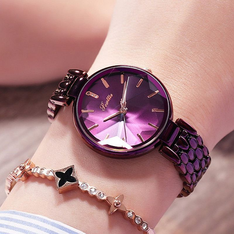 Luxus Lila Diamant Zifferblatt Frauen Uhren Damen Elegante Casual Quarzuhr Frau Kleid Uhren Uhr Frauen uhren para mujer