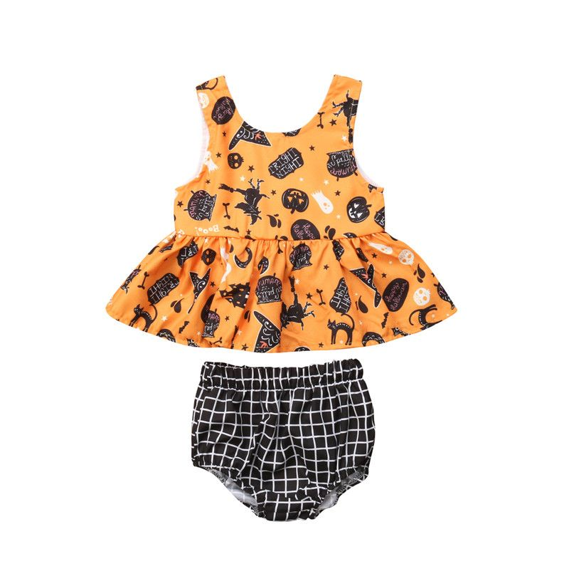 Baby Girl Clothes Set Outfit My First Halloween Clothing Summer Sleeveless Tops Plaid Shorts Newborn Girls Cotton 2PCs 3-24M