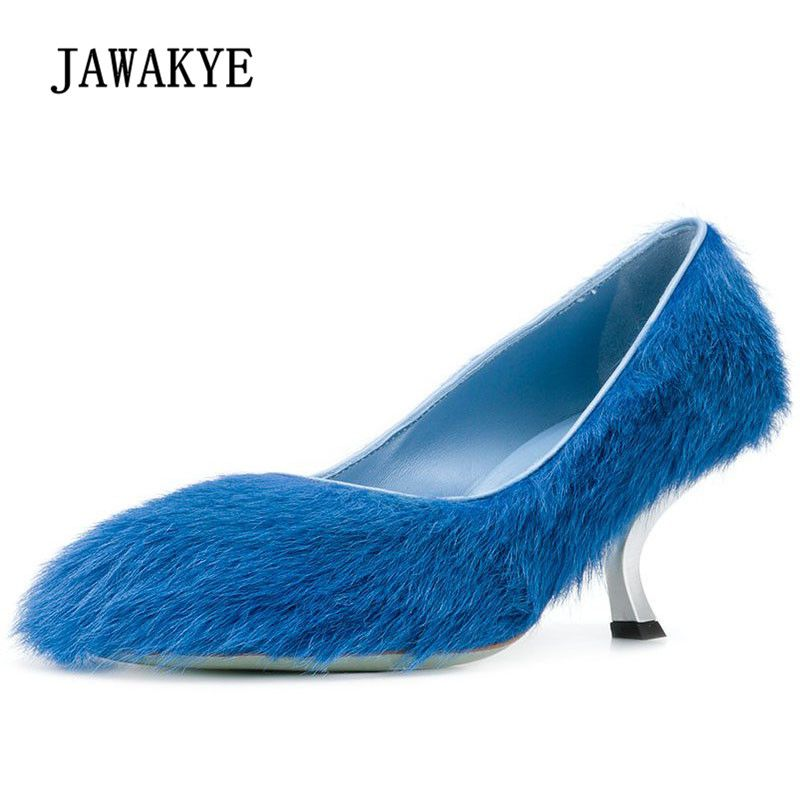 2018 Chic Horsehair High Heels Women Round Toe Blue Pink Brown Real Fur Metal Strange Pumps Women Fashion Lazy Casual Shoes