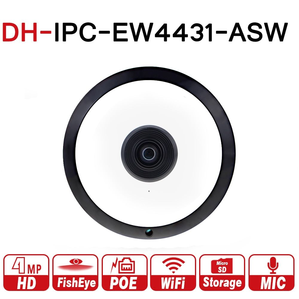 DH IPC-EW4431-ASW 4MP Panorama POE WIFI Fisheye IP Camera built-in MIC SD Card Slot Audio Alarm Interface with dahua logo