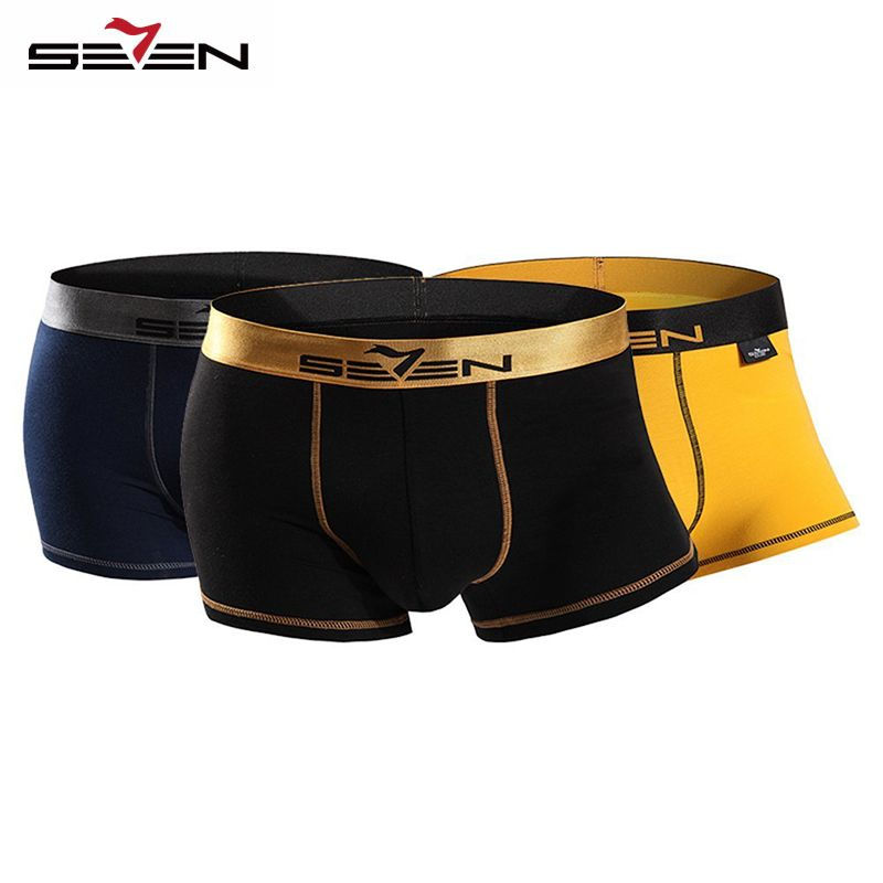 Seven7 Brand High Elastic Casual Men Underwear Boxers Sexy Comfortable 3 Pcs\<font><b>Pack</b></font> Colorful Boxers Men Shorts Pants 110F08060