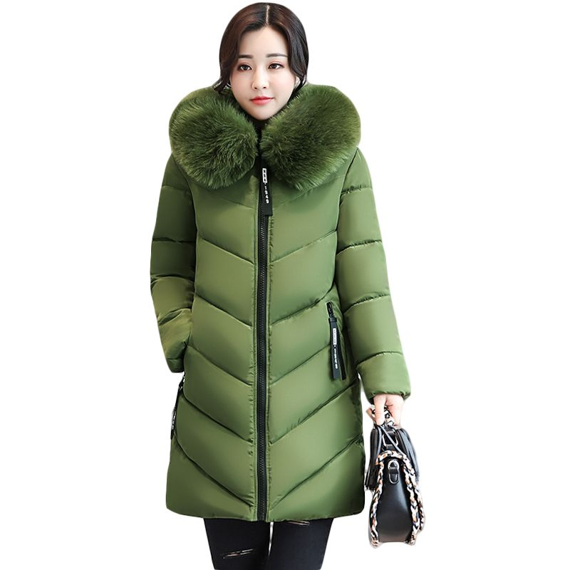 2017 Women Winter Large Fur Hooded Parkas Female Thick Warm Cotton Coat Women Wadded Winter Jackets Outwear Plus Size 6XL CM1695