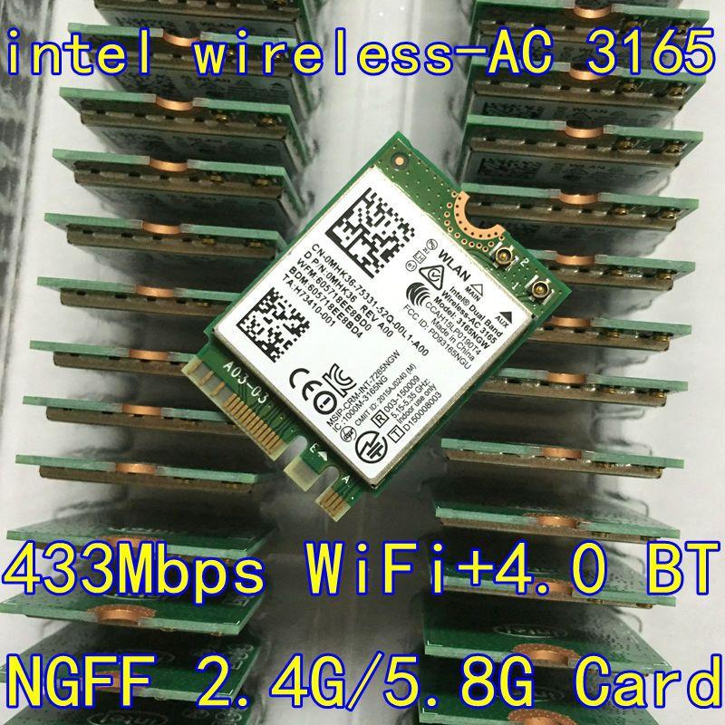 Intel 3165 3165ngw 3165ac double bande sans fil ac + bluetooth4.2 Mini NGFF carte wifi 802.11AC 4.2 433 Mbps NGFF Carte Sans Fil 3160