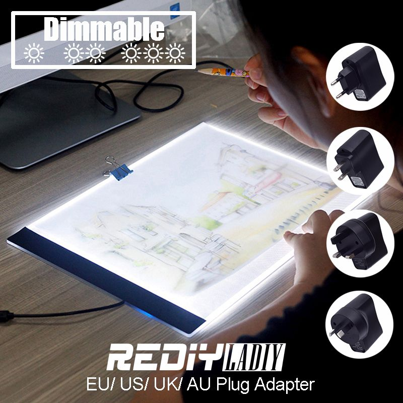 <font><b>Dimmable</b></font> Ultra Thin A4 LED Pad Light Tablet USB Cable EU/UK/AU/US Plug Adapter Diamond Embroidery Diamond Painting Cross Stitch