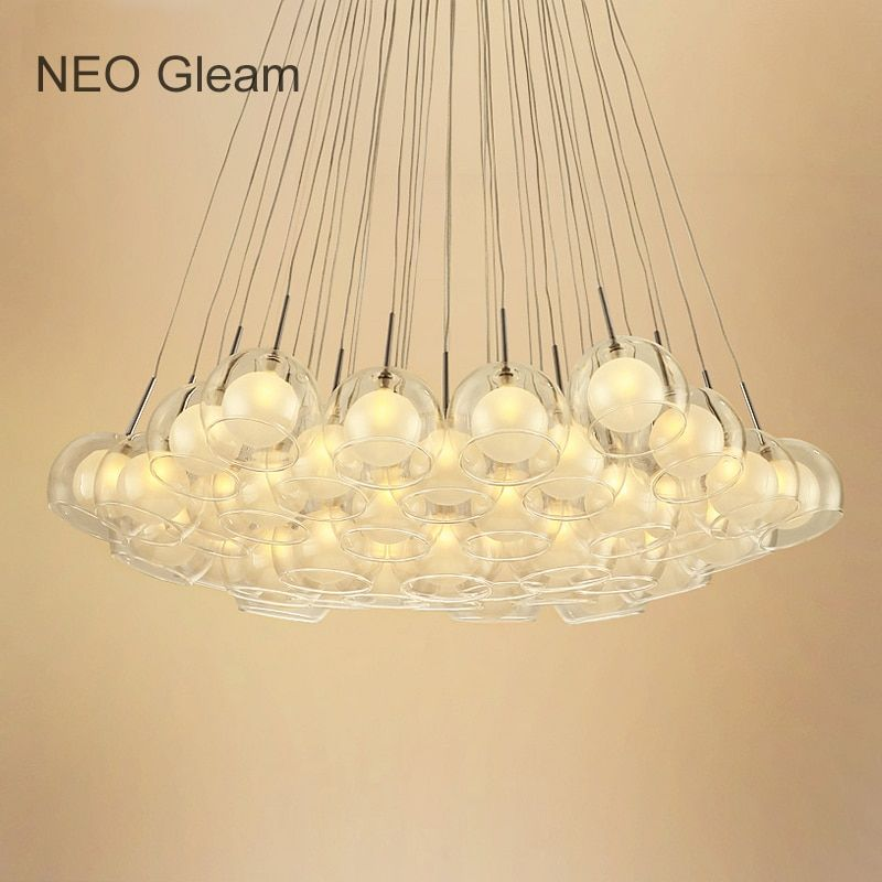 Ideal Glass Bubble Modern Led Pendant Lights For Living Dining Room Bedroom AC85-265V G4 Hanging Pendant Lamp Fixture hanglampen