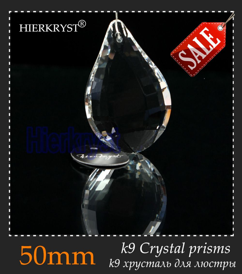HIERKYST 1 pc K9 Glass Crystal Prisms Pendants Chandeliers Parts Lustres Rainbow Lamp Lighting Hang Drops 50mm 2