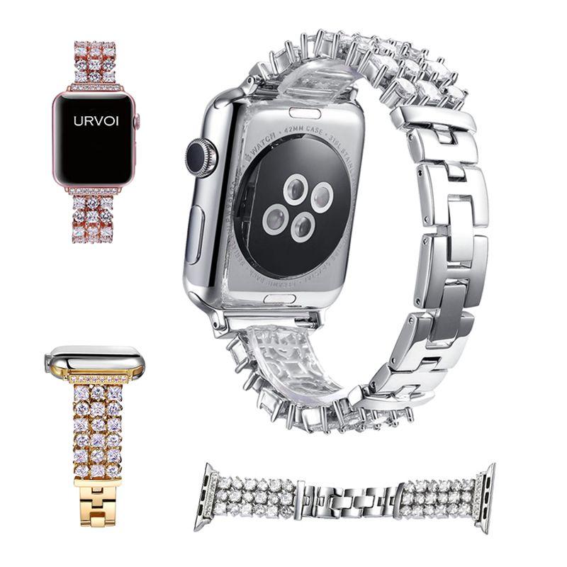 URVOI band for apple watch 1 2 wrist stainless steel link bracelet strap for iWatch Luxury Glitter zirconia rhinestone-studded