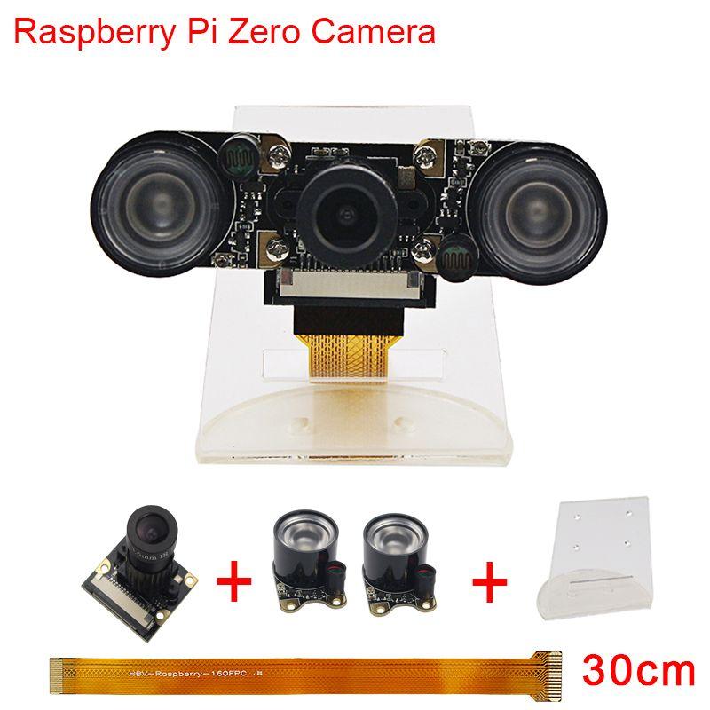 Nouveau Raspberry Pi Zéro W Caméra Focale Réglable Nuit Vision Caméra + 2 pcs IR Capteur LED Lumière + 30 cm FFC + Acrylique Titulaire RPI0