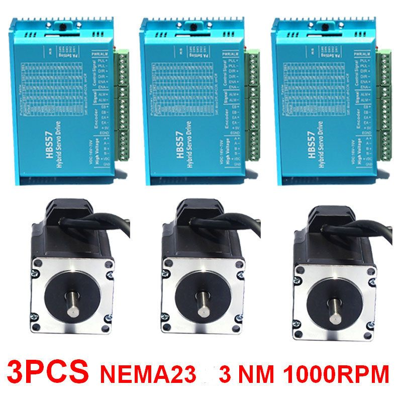 3 stücke 3Nm NEMA23 57mm DC24-60V Geschlossen schleife Hybird Encoder Schrittmotor & Drive Kit Einfach Servo für CNC mühle Gravur maschine