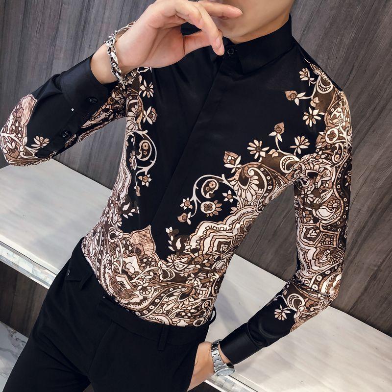 Chemise royale de luxe décontracté Slim Fit à manches longues hommes Paisley imprimé chemise Camisa Social Masculina Manga Longa chemise de bal