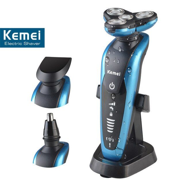 T123 kemei 3 in 1 washable rechargeable electric shaver men shaving machine nose trimmer barbeador 3D beard shaver razor