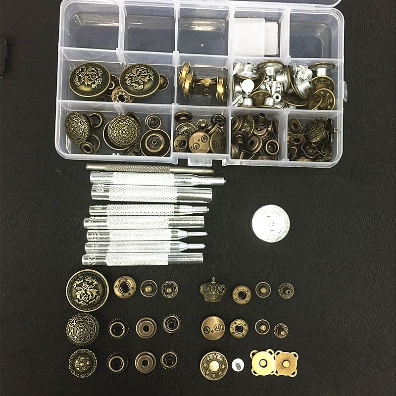 14-26mm 7Style 48sets Metal Snap Fastener Press Stud Buttons Poppers Leather Craft Magnet Button Jeans Button+9pcs Tools Kit