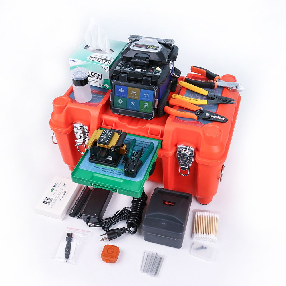 Orientek T45 lwl-spleißen maschine maquina de fusao fusion splicer kit Fibre Optique