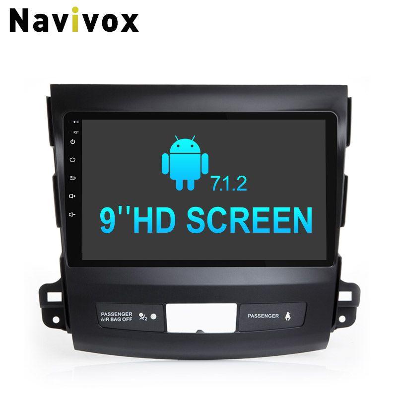 Navivox 9''2 din Android 7.1.2 Car GPS Navigation Stereo Audio Ram2 Rom32G PlayerFor Mitsubishi Outlander 2006-2012 RDS/DAB
