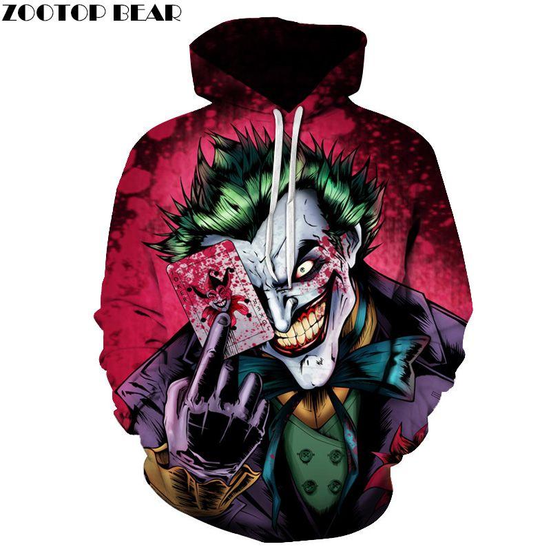 Joker Poker Men Hoodies Sweatshirts 3D Printed Funny Hip HOP Hoodies Novelty Streetwear Hooded Autumn Jackets Mlae Tracksuits