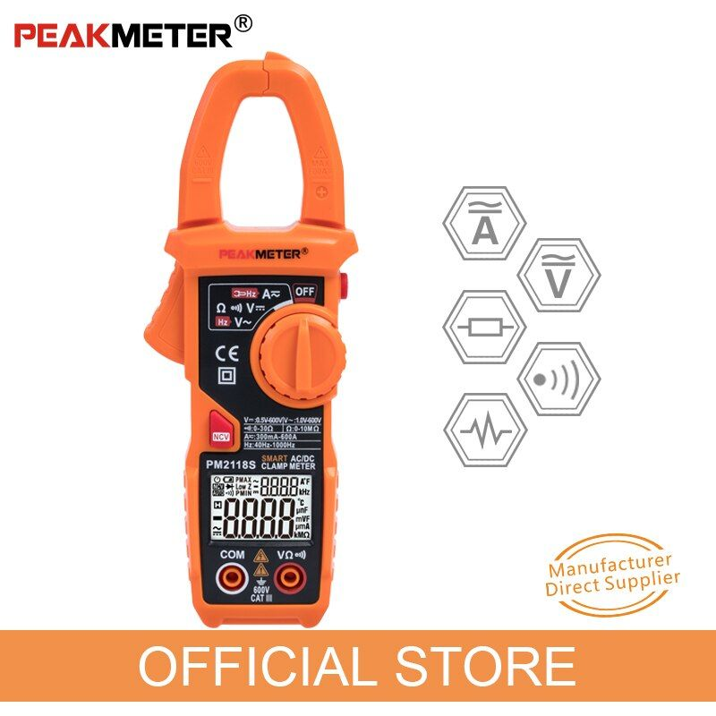 Nouveau PEAKMETER Portable intelligent AC/DC pince mètre multimètre AC courant tension résistance continuité testeur de mesure avec NCV