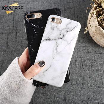 KISSCASE Pour l'iphone 6 s Cas iPhone 7 8 Plus Marbre Motif TPU Silicone téléphone Cas Pour iPhone X 6 6 s 5 5S SE Couverture Arrière Coque