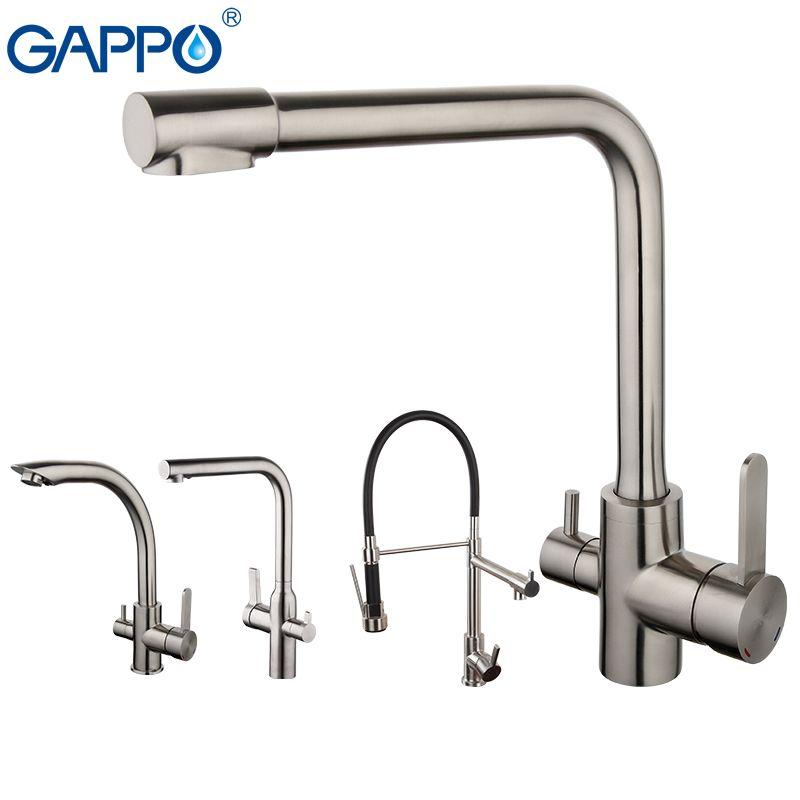 GAPPO robinet de cuisine avec eau chaude et froide robinet en acier inoxydable mélangeur robinet à boire robinet d'eau de cuisine torneira para