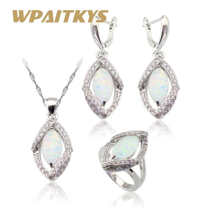 Marquise feu blanc opale couleur argent ensembles de bijoux pour les femmes collier de mariage pendentif boucles d'oreilles anneaux boîte de cadeau de noël