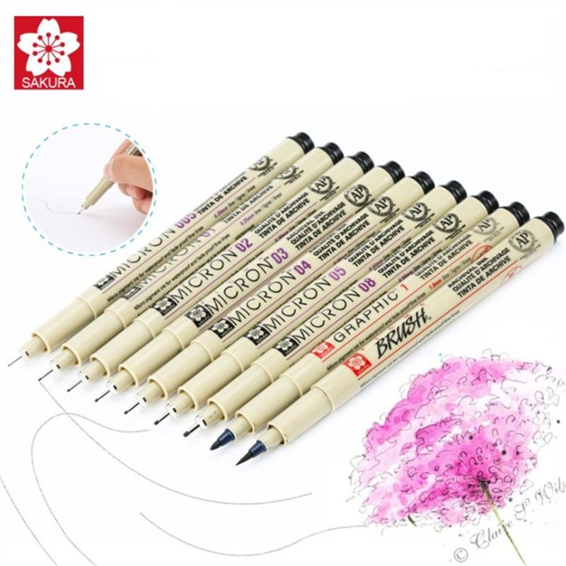 9 pcs/set Sakura Pigma Micron Pen Neelde Soft Brush Drawing Pen lot 005 01 02 03 04 05 08 1.0 Brush Art Markers
