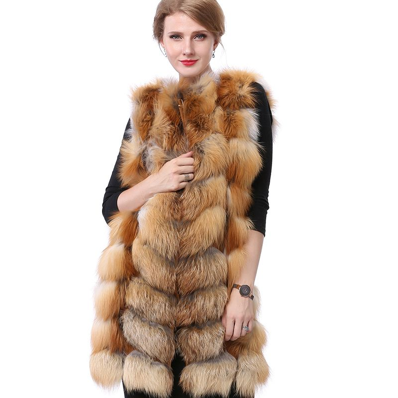Valpeak Fox Fur Vest Light Fashion Winter Women Real Fox Fur Coat Natural Leather Fur Vest with Lining