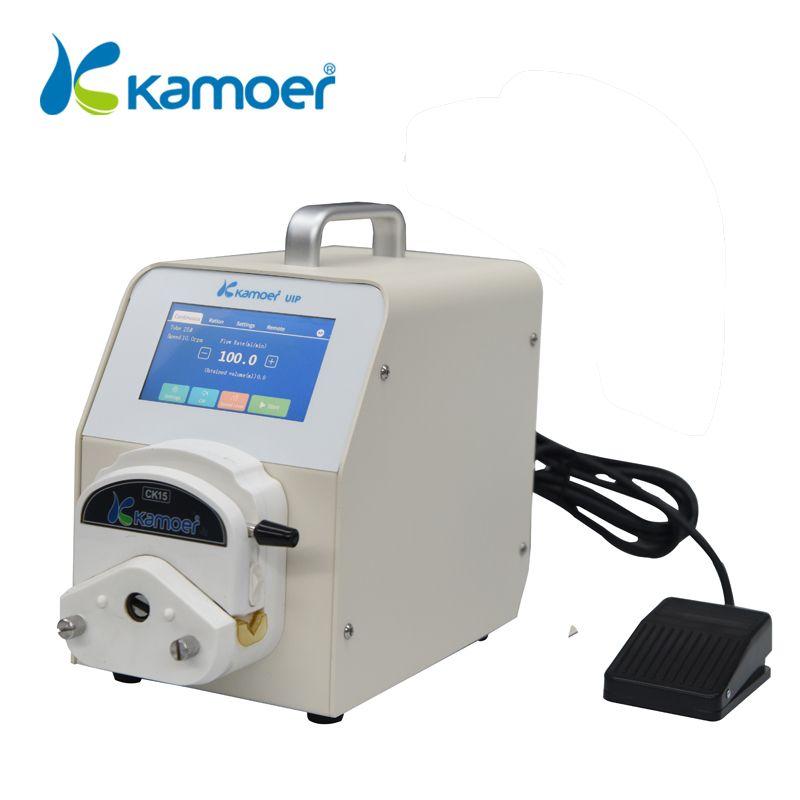 Kamoer UIP pompe péristaltique de laboratoire avec moteur Steppetr, contrôle Wifi, débit élevé, Support de commutateur au pied, écran tactile