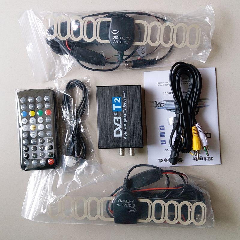 High Speed 110km/h Golden DVB T2 Car DVB-T Double Antenna DVB-T2 Car DVB T H.264 MPEG4 External USB Digital Car TV Tuner