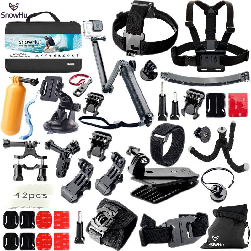 SnowHu For Gopro Hero Accessories Set Mount Strap Monopod For Go pro hero 6 5 5S 4 3+3 for EKEN H9 for xiaomi for yi for 4k GS42
