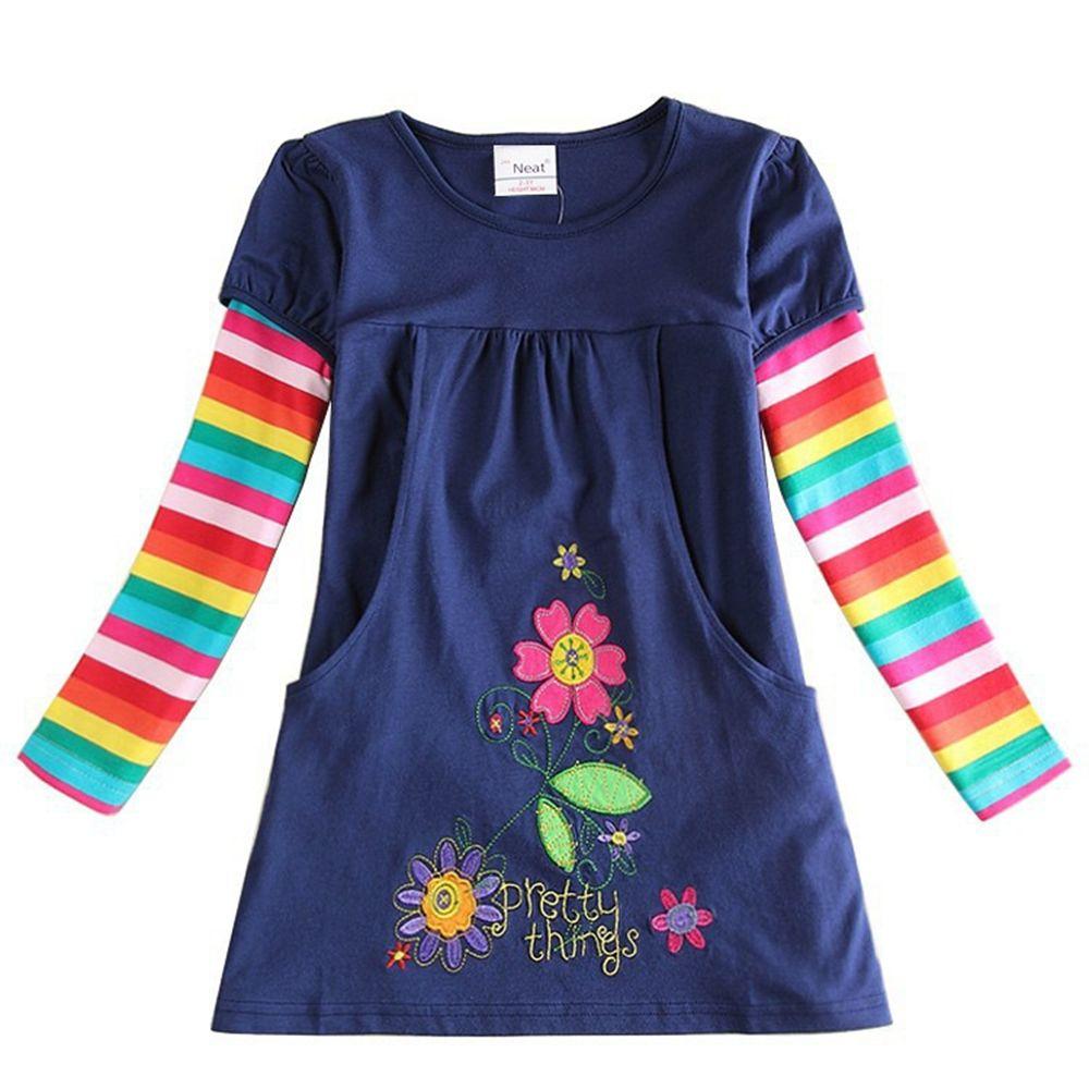 Filles à manches longues robe marque fleur brodé robes de poche pour les filles habiller doux un mot filles enfants robe H5802