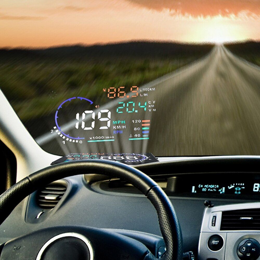 Car HUD Head Up Display A8 Car Alarm System OBD2 EUOBD Interface Overspeed Warning Automobile Windshied Project Car-styling