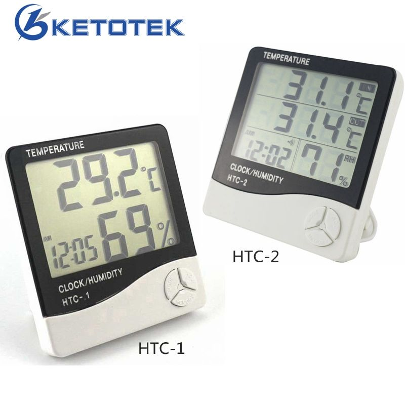 Weather Station HTC-2 HTC-1 Indoor Outdoor Thermometer Hygrometer Digital LCD C/F Temperature Humidity Meter Alarm Clock
