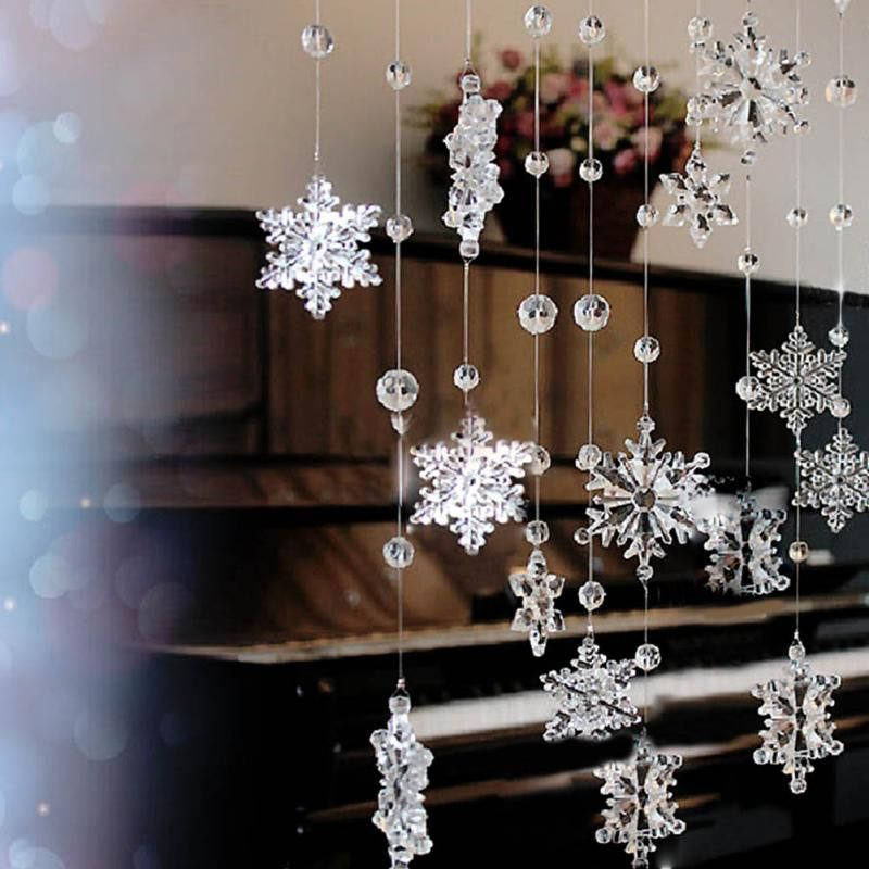1M Beautiful Acrylic Crystal Snowflake Bead Garland Wedding Decoration Curtain