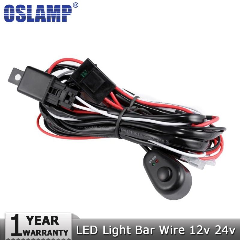 Oslamp Car Auto Led Work Lamp Driving Lights Wiring Loom Harness Offroad Led Light Bar Wire Cable 40A 12v 24v Switch Relay Kit