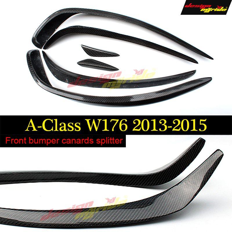 W176 Front Stoßstange Splitter Lip Carbon Canards Spoiler Für Mercedes Benz A180 A200 A250 A45 Look Anterioren lip 2013 -15