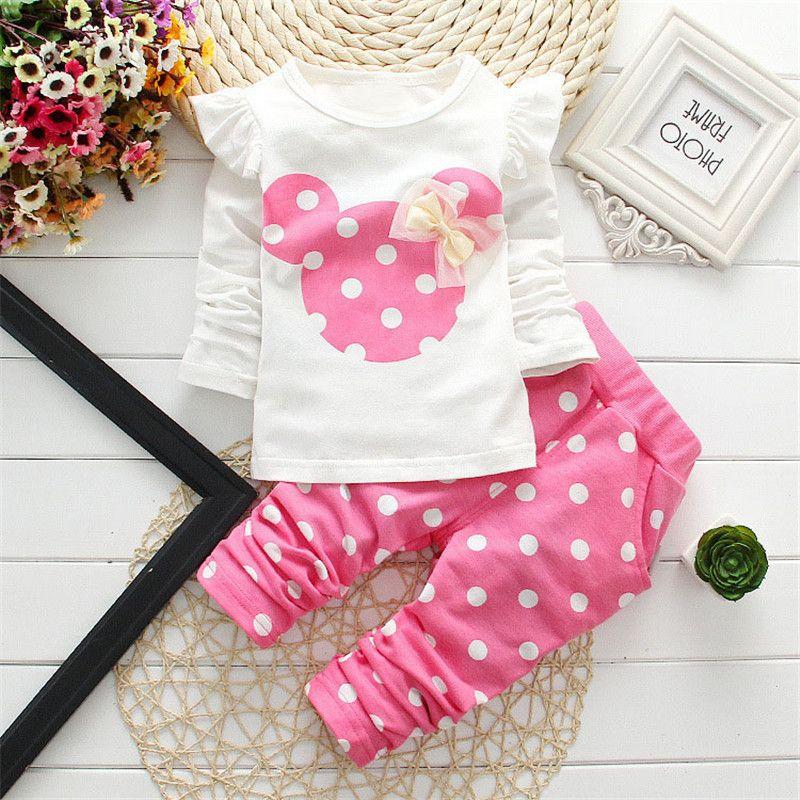 2016 nouveaux enfants vêtements fille à manches longues lapin coton Minnie costumes décontractés bébé vêtements au détail enfants costumes livraison gratuite