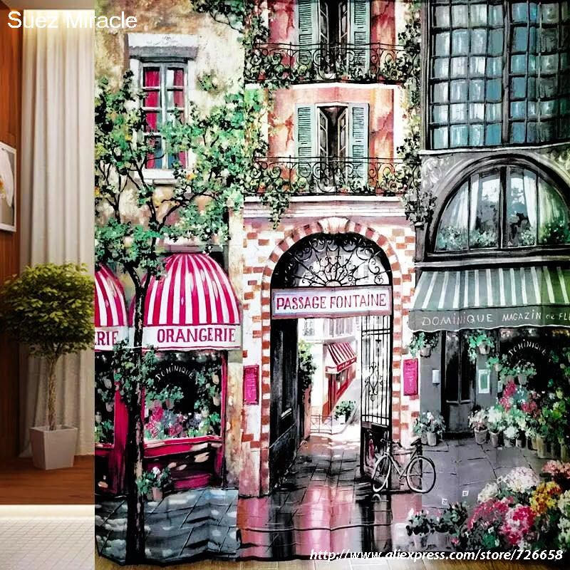 2016 new! Romantique Paris café polyester haute définition impression mildiou imperméable rideau de douche