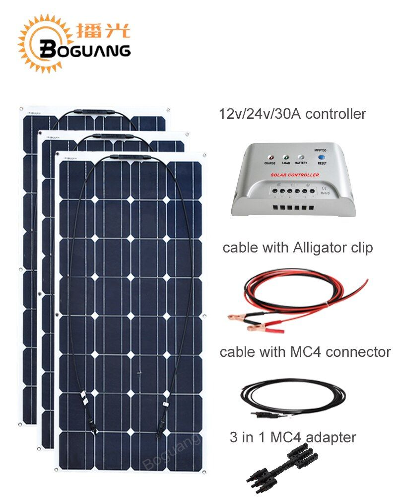 Boguang 100w Monocrystalline solar panel 300w DIY kit 30A MPPT controller cable adapter for 12v battery RV yacht power charge