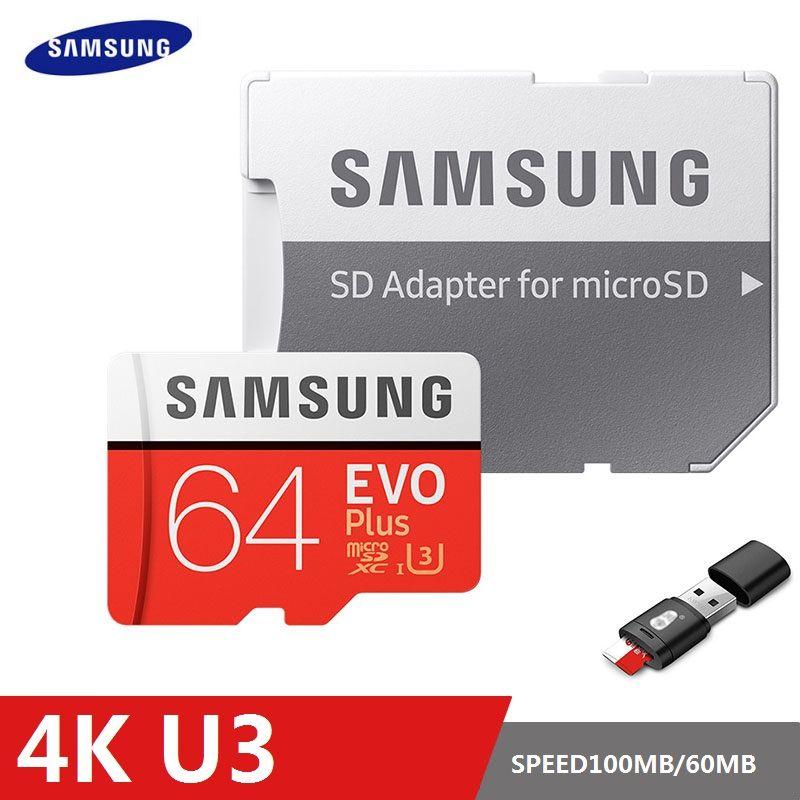 SAMSUNG EVO Plus Carte Mémoire 8 GB/32 GB/SDHC 64 GB/128 GB/256 GB /SDXC Micro SD TF Carte Class10 Microsd C10 UHS-1 Cartes 100% D'origine