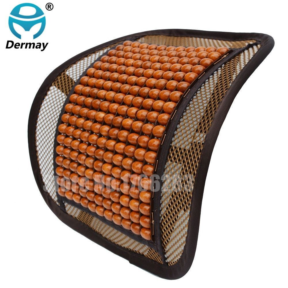 High Quality Luxury Wooden Bead Seat Back Lumbar Support Cushion For Car Office Chair Pillow Massager 41cmx41cm Car Detector
