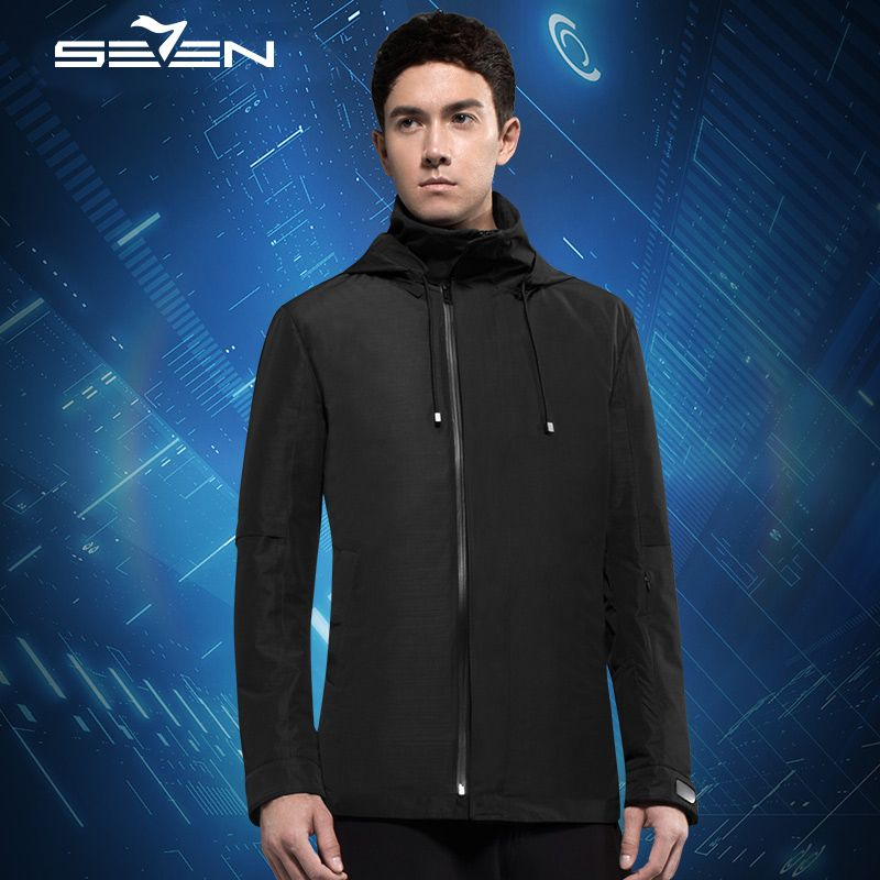 Seven7 Smart Travel Jacket Cloudburst Men Hoodie 17 Pockets Pillow Eye Mask Gloves Duck Windbreaker Jacket Coat 2 Pcs 111K20350