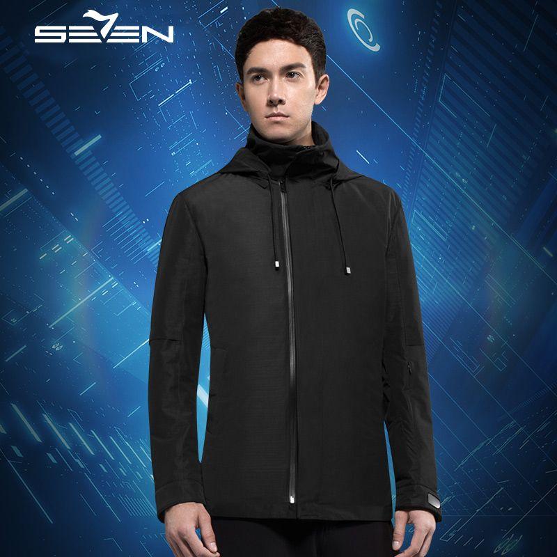 Seven7 Smart Travel Jacket Cloudburst Men Hoodie 17 Pockets Pillow Eye Mask Gloves Duck Windbreaker Jacket Coat 2 Pcs 111K20350