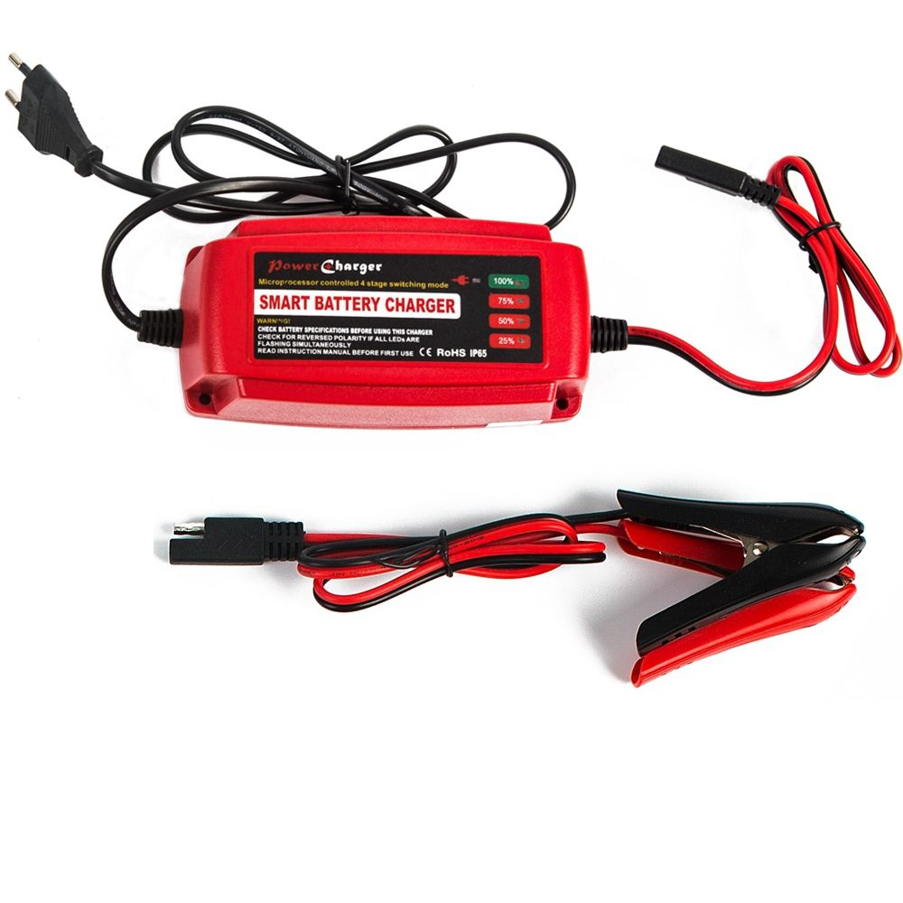 12V 5A Smart Car Scooter Battery Charger Maintainer & Desulfator 4-stage for AGM GEL WET Batteries 10-100AH Warranty 2 Years